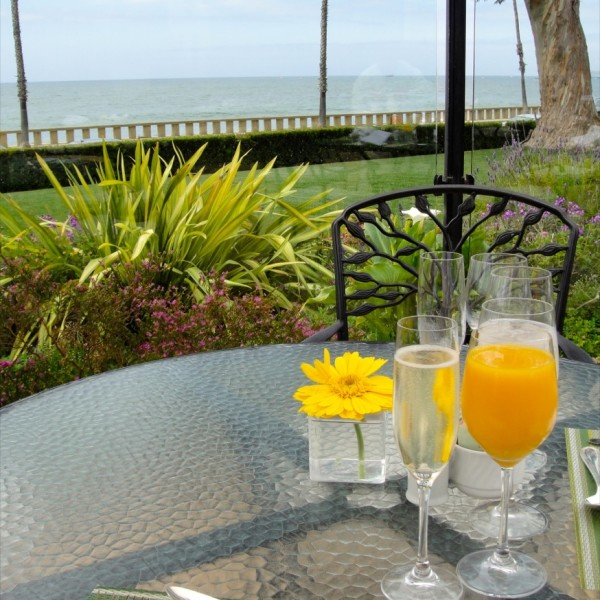 Sipping champagne and mimosas at the Biltmore. Santa Barbara, California
