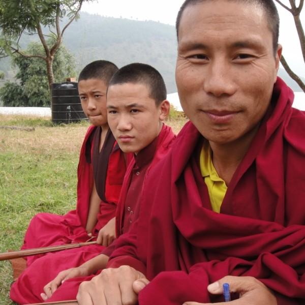 Buddhist monks.  Punakha, Bhutan