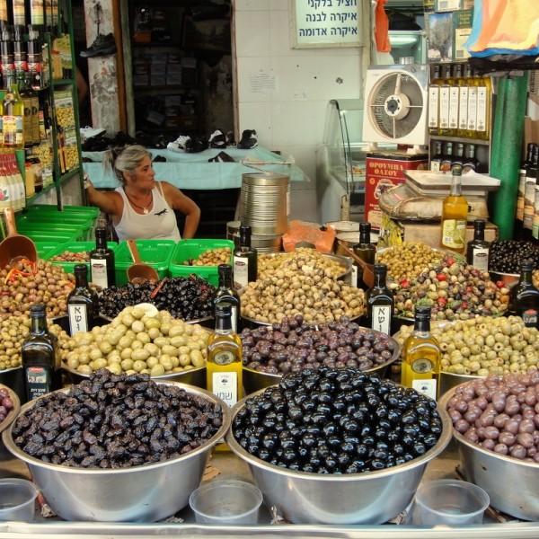 Delicious olives at the Shuk (market) HaCarmel.  Tel Aviv, Israel