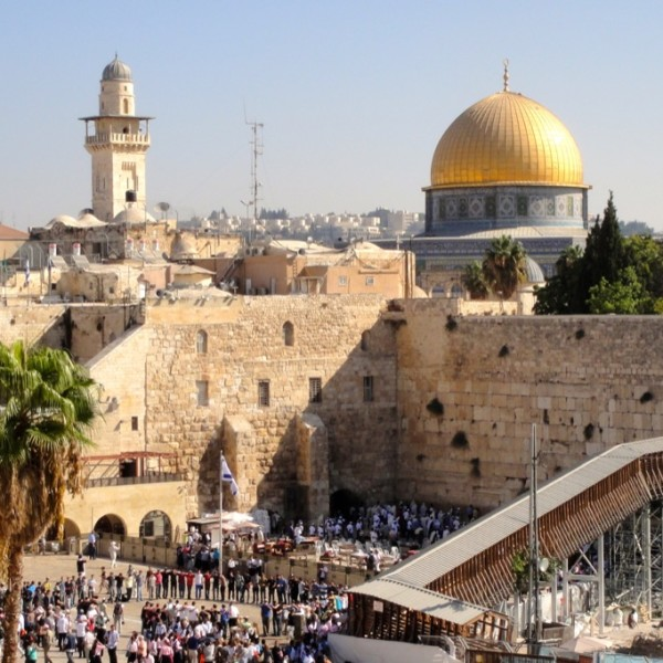 The Western Wall, Temple Mount and Dome of the Rock. Jerusalem, Israel